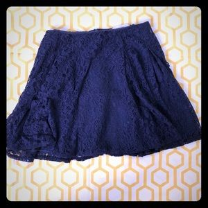 Lush Navy Blue Floral Lace Skirt